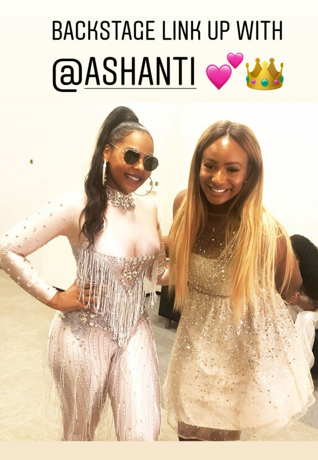DJ Cuppy strikes a pose backstage with Ashanti after a show in Malta