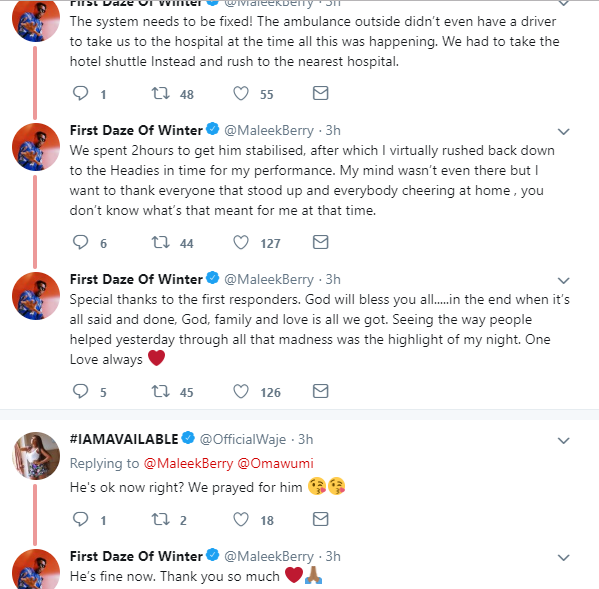 Maleek Berry narrates how he almost lost a friend last night at the Headies, calls out Eko hotel for having an ambulance with no driver