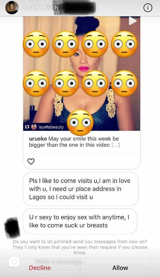 Actress Uru Eke shares screenshot of DM she got from a man asking if he can come suck her boobs