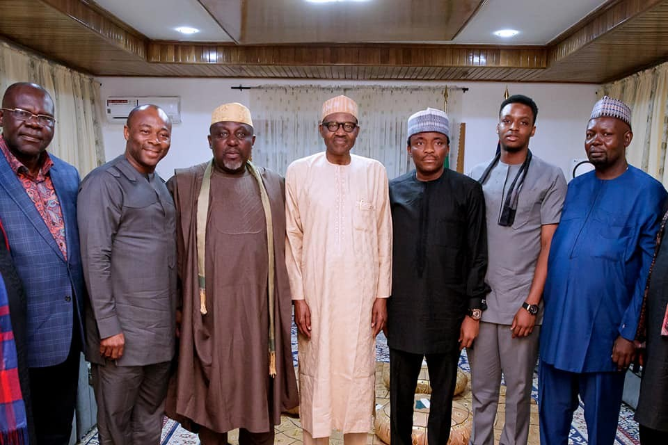 Photos: President Buhari receives governor Okorocha in his home in Daura