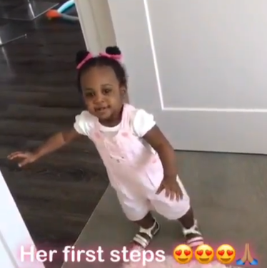 Davido shares adorable video of his second daughter, Hailey, taking her first steps