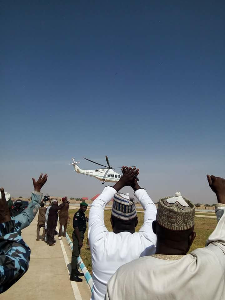 Photos: Katsina state government officials wave to presidential jet as President Buhari departs Daura for Abuja