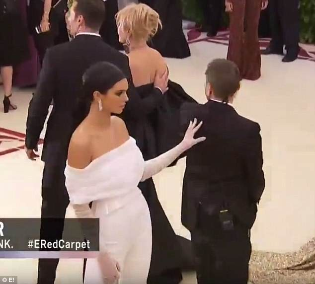 Here is the moment Kendall Jenner was caught pushing away a security guard as he invaded her photo at Met Gala (Photos/Video)