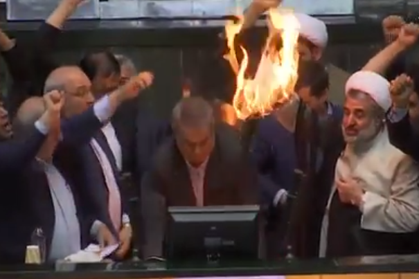 """Death to America"" Iranian politicians burn US flag in parliament after Trump withdraws from Nuclear deal"