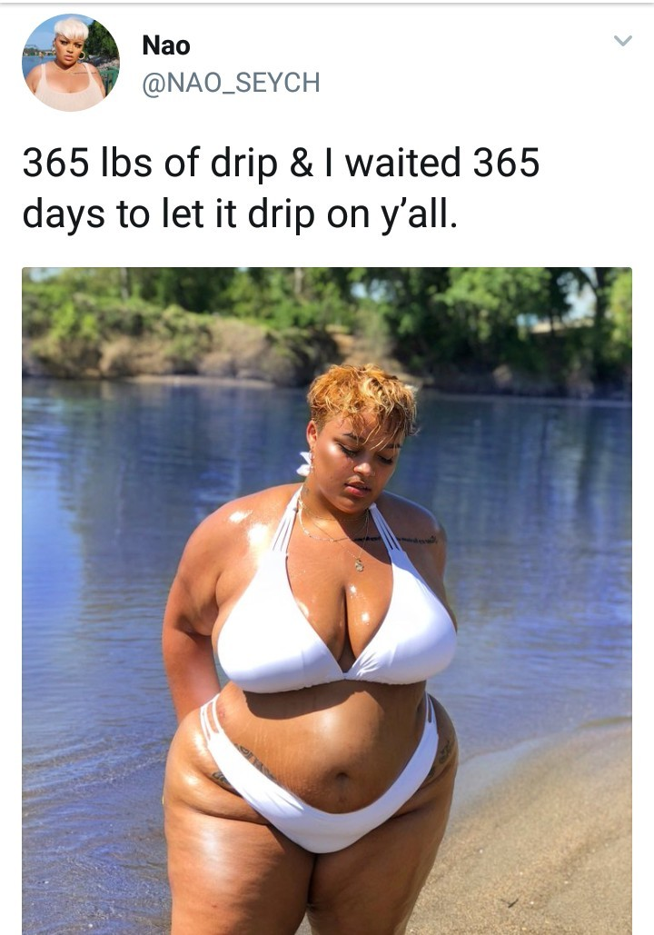 Plus size lady shows off her curves in bikini photo