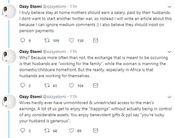 "Trending debate: ""Should husbands pay their stay at home wives salary?"" Nigerian writer lists reasons why"