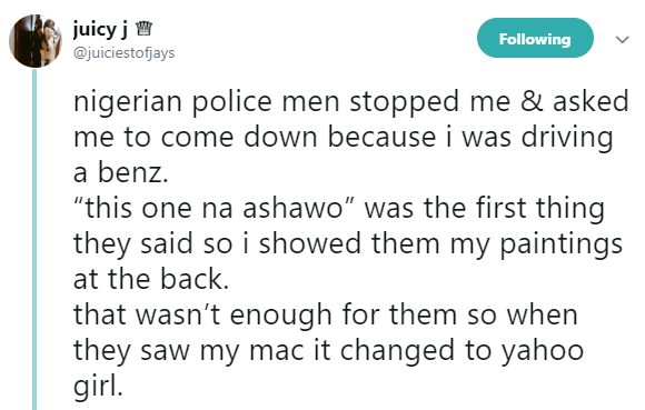 "Lady narrates her shocking experience with police who called her ""Ashawo"" and asked for N500k bribe"