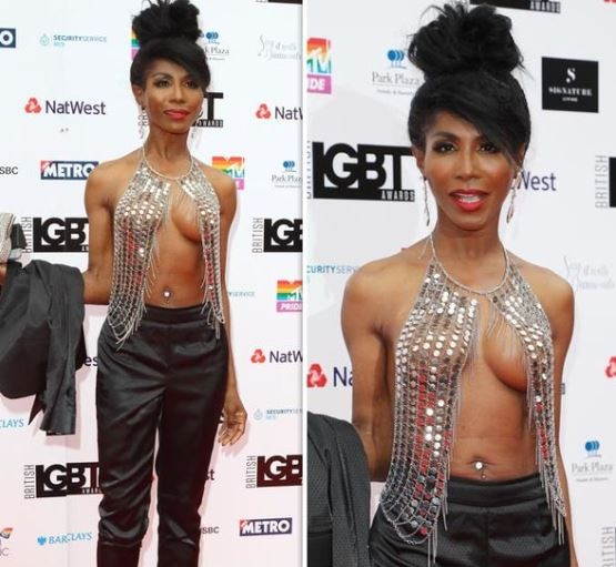 Singer Sinitta, 54, goes braless in very daring see-through top to LGBT Awards (Photos)