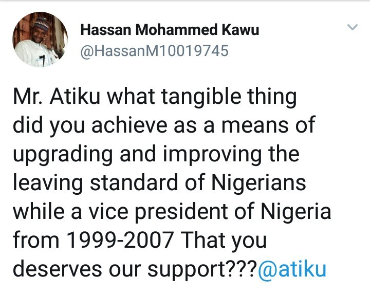 Atiku reply to a twitter user who asked him how he improved the standard of living during his time as Vice President