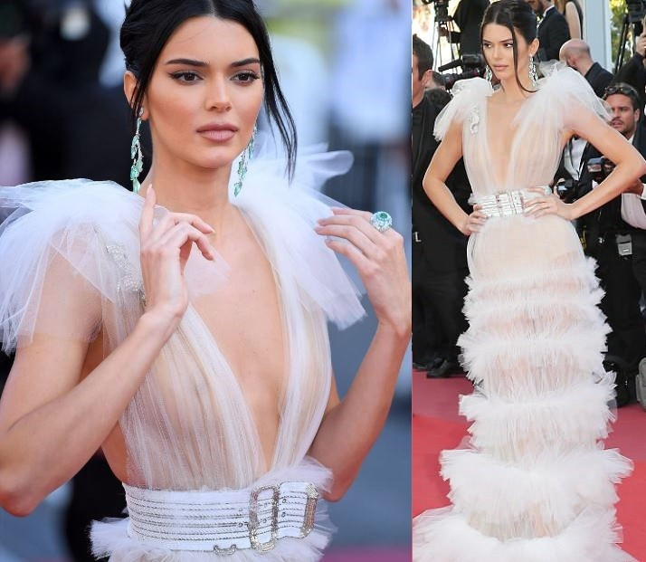 Kendall Jenner goes braless in daring transparent gown for the Girls ...