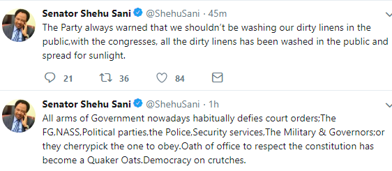 Suffice to say Senator Shehu Sani is also a member of APC. See more of his tweets below
