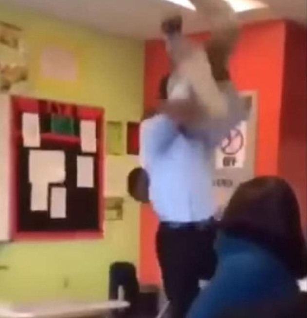 Teacher body slams a pupil who punched him in the face onto a desk and beats him (photos/videos)