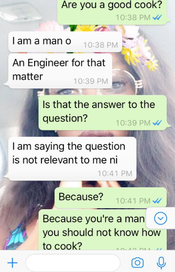 Medical Doctor Shares Her Chat With A Suitor Who Says Being A Good Cook Is Irrelevant