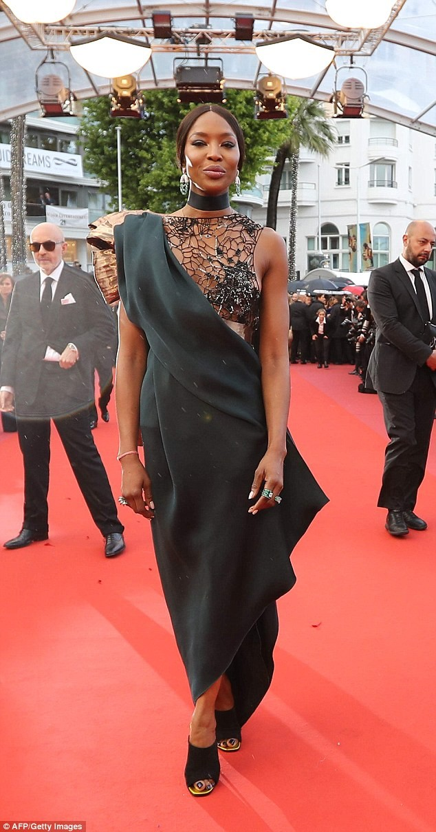 Naomi Campbell goes braless in daring see-through mesh dress at BlacKkKlansman premiere in Cannes (Photos)