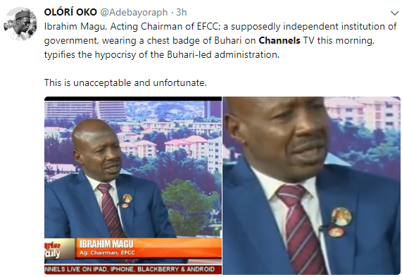 EFCC acting chairman, Ibrahim Magu, pictured rocking President Buhari