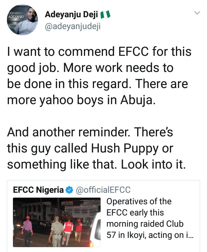 Deji Adeyanju tells EFCC to investigate Hush Puppi while reacting to the arrest of alleged Yahoo boys