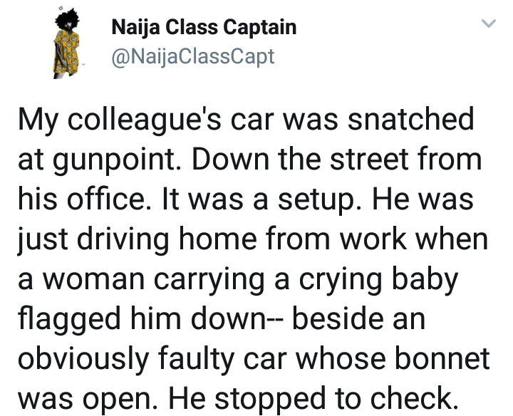 man Robbed   After He Stopped For A Woman With A Crying Child