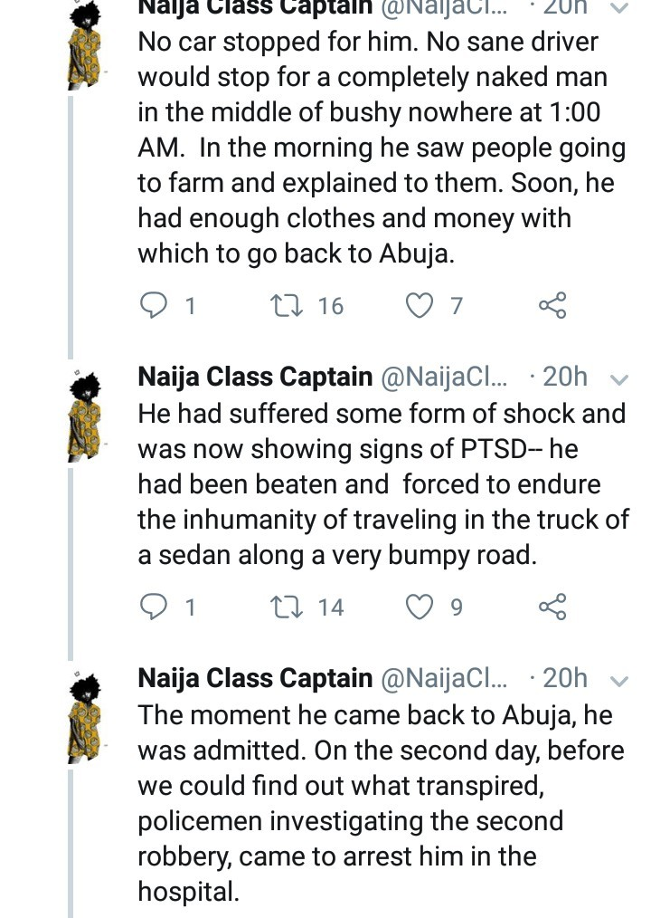 Twitter user narrates the trauma his friend had to endure at the hands of robbers after he stopped for a woman with a crying child