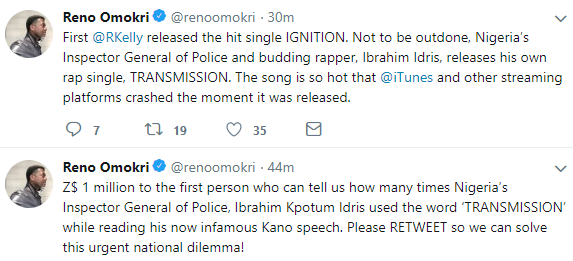 Lol! Reno Omokri mocks IGP Ibrahim Idris over his embarrassing trending video