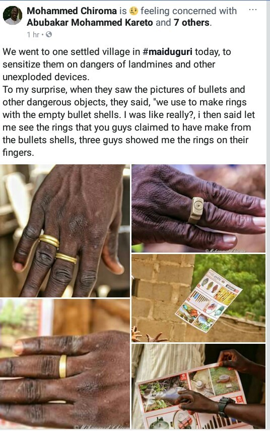 Humanitarian worker expresses concern as residents in Maiduguri village make rings with empty bullet shells