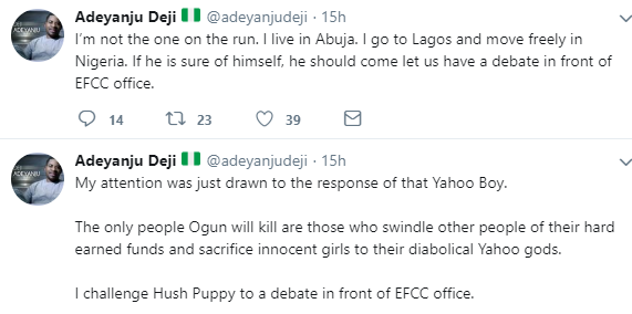 Deji Adeyanju challenges Hush Puppi to a debate in front of EFCC office
