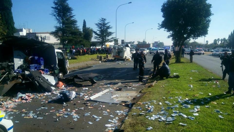 Photos/Video: Robbers blow up Bullion vans filled with money in South Africa, cart away millions of rands