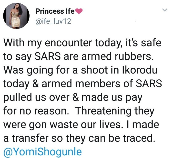Twitter users says she was threatened with death and extorted by SARS and she has proof