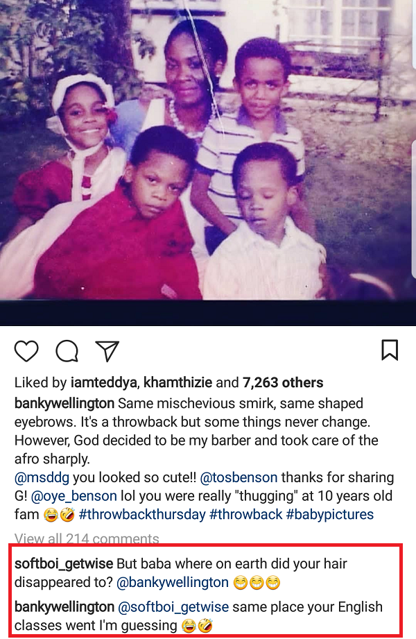 Banky W shares cute childhood photo with his family and replies IG user who asked where
