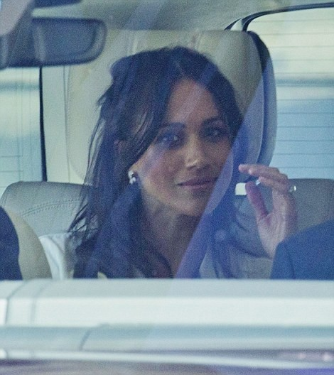 Meghan looks absolutely beautiful as she and Harry?arrive for tea with the Queen and a rehearsal with the wedding party at Windsor Castle