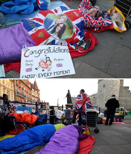 Royal fans wrapped in their sleeping bags camp outside Windsor Castle on the eve of Prince Harry and Meghan Markle
