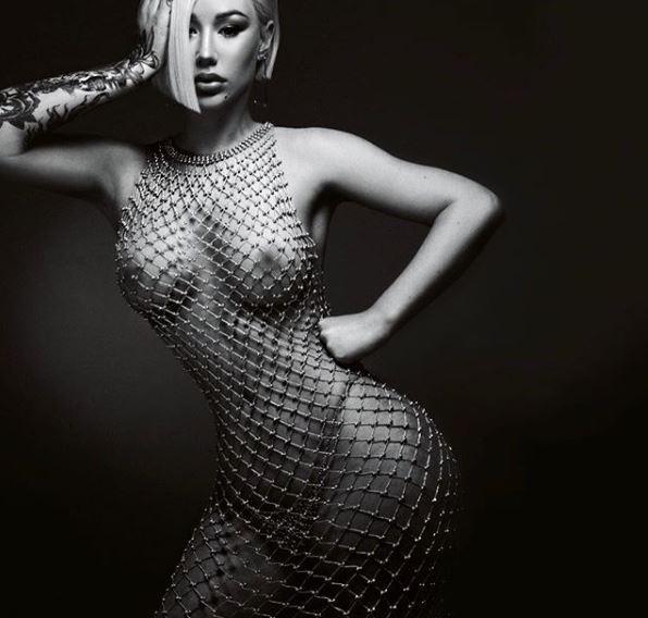 Iggy Azalea shares nude photo wearing only a beaded mesh dress