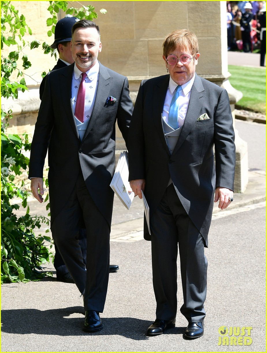 Photos of Sir Elton John and his husband David Furnish at the Royal wedding.