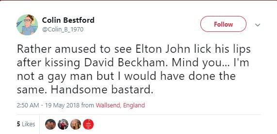 Twitter users react to video of Sir Elton John licking his lips after kissing David Beckham on the mouth at the Royal Wedding (Video/photos)