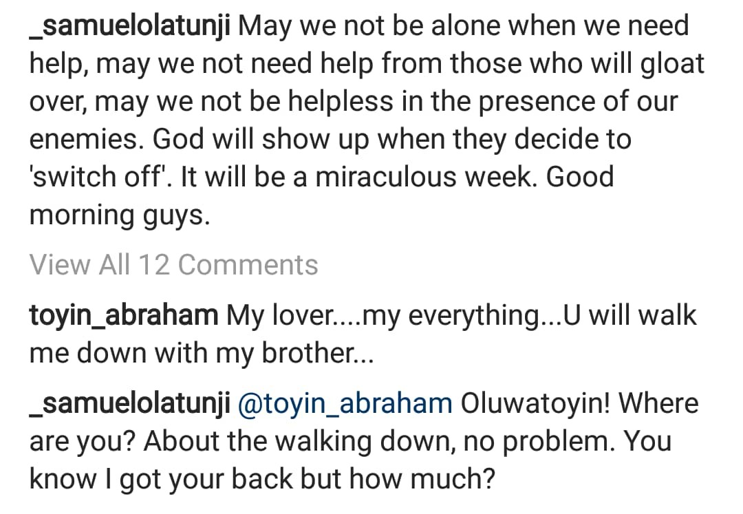 Newly engaged Toyin Abraham, asks her publicist, Samuel Olatunji, to walk her down the aisle on her wedding
