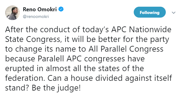 Reno Omokri trolls APC following party