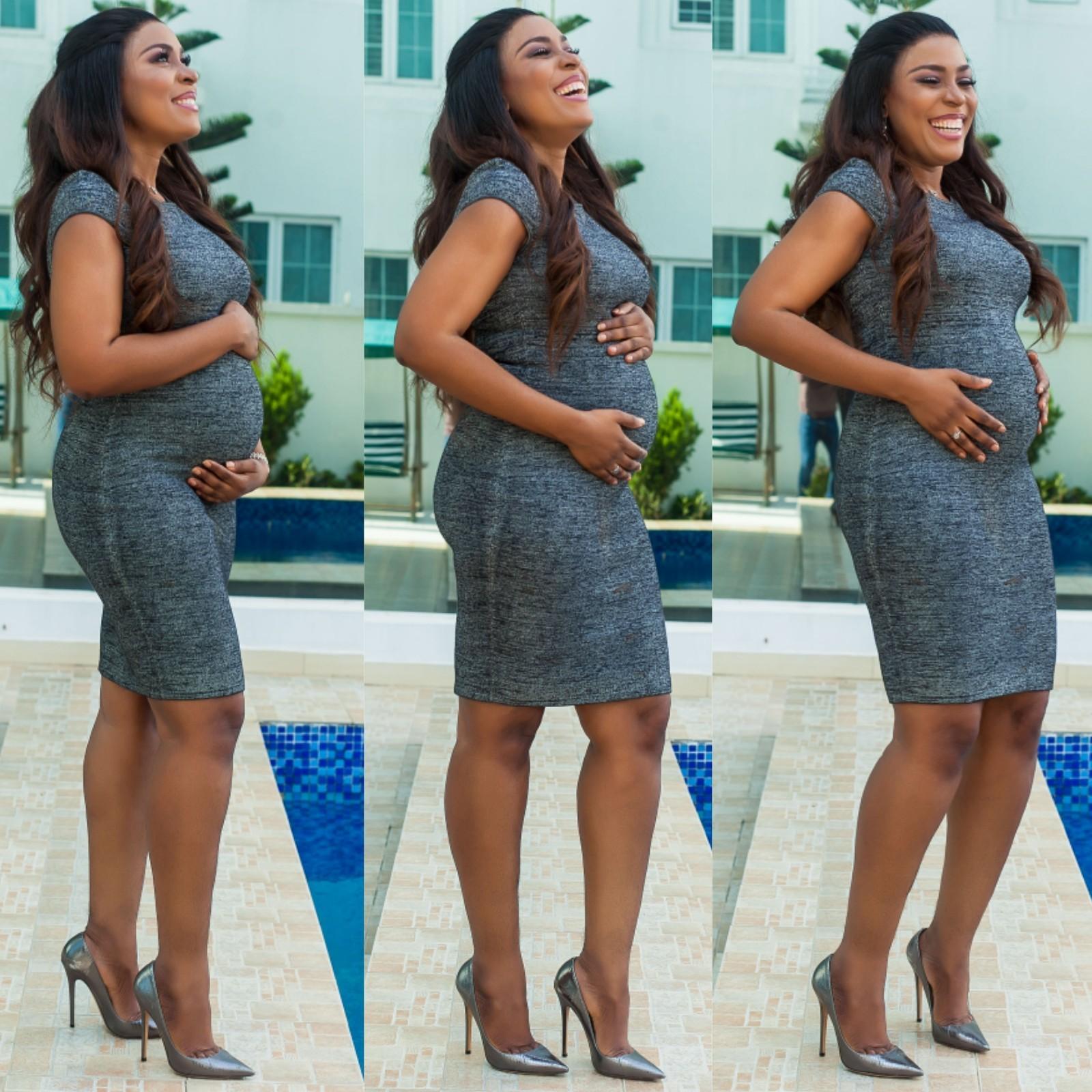 Linda Ikeji pregnant baby bump photos