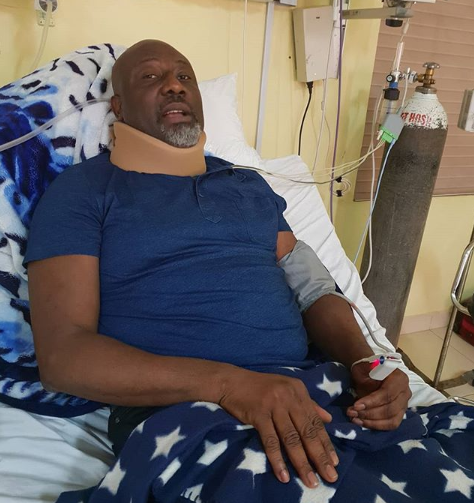 Dino Melaye shares photo from his hospital bed, thanks Nigerians for standing by him