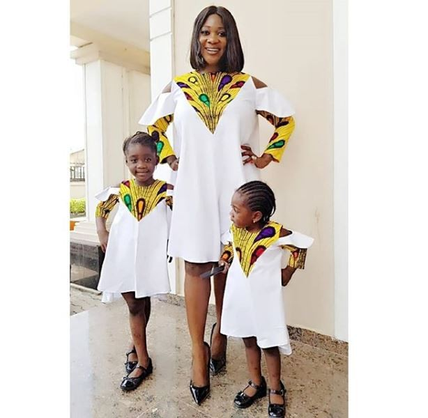Beautiful photo of Mercy Johnson and her daughters twinning in matching Ankara