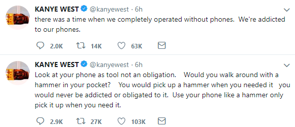 Kanye West speaks out against addiction to phones, says it