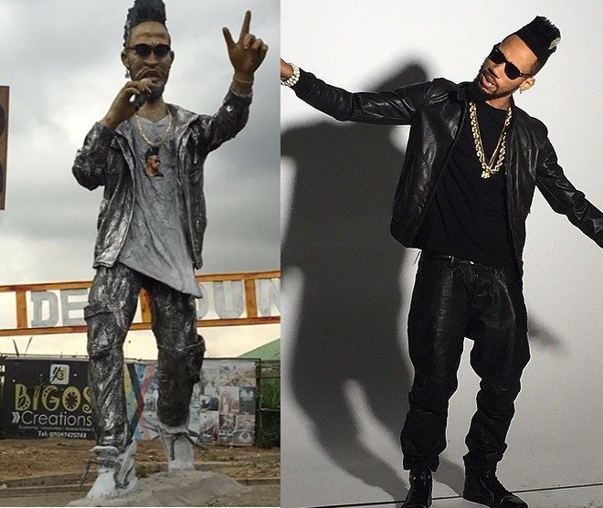 Phyno shows off funny looking statue of himself erected in Eleme, Port Harcourt?