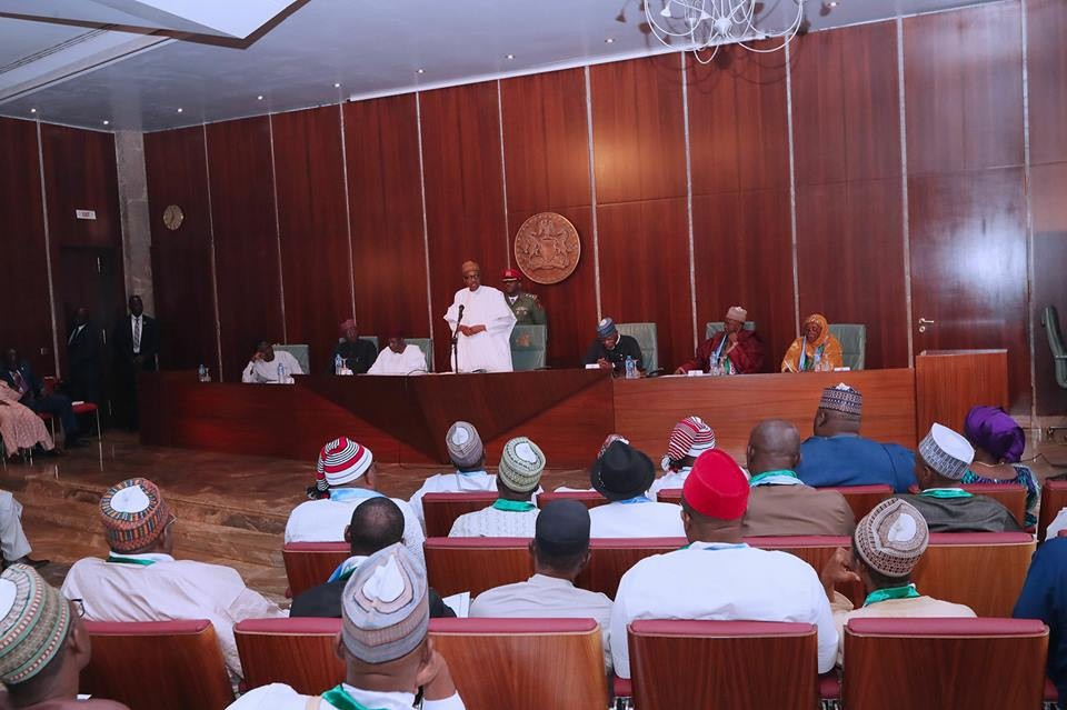 2019: President Buhari receives his political support group in Aso Rock