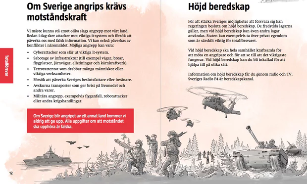 "Sweden distributes ""be prepared for war"" leaflet to all 4.8m homes"
