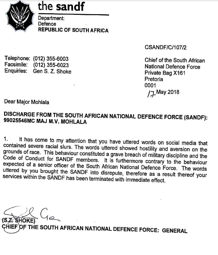 South African military officer dismissed from service over racial comment he made on social media