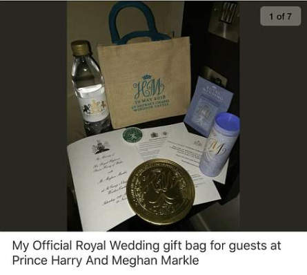 A Royal Wedding guest succeeds in selling her royal wedding gift bag on eBay for ?21,400