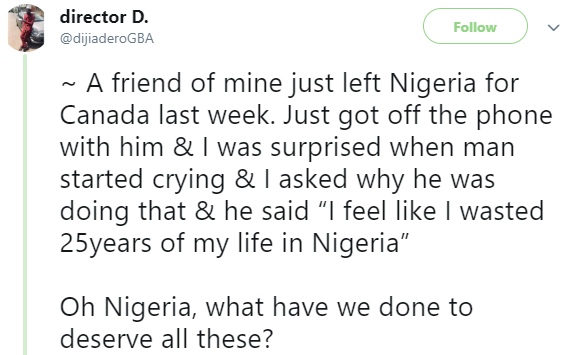 Twitter user left in shock after his friend who left Nigeria for Canada last week, calls him and was weeping