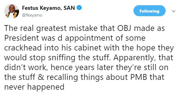 Festus Keyamo trolls an ex-minister under ex-president Olusegun Obasanjo