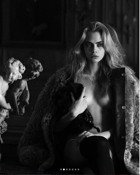 Cara Delevingne poses semi-nude in new photoshoot (Photos)