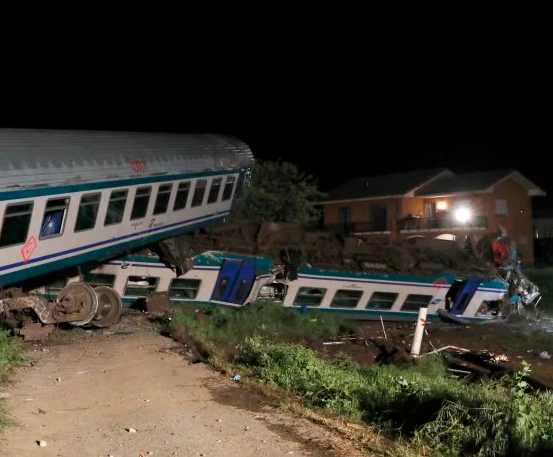 Two dead, 18 injured after train smashes into truck stopped on tracks in Italy