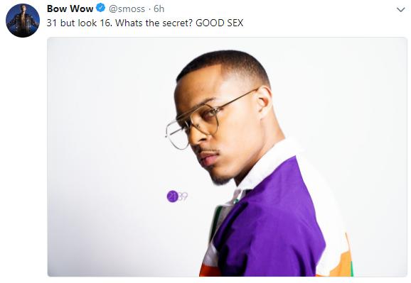 Shad Moss aka Bow Wow says good sex is the reason he looks good