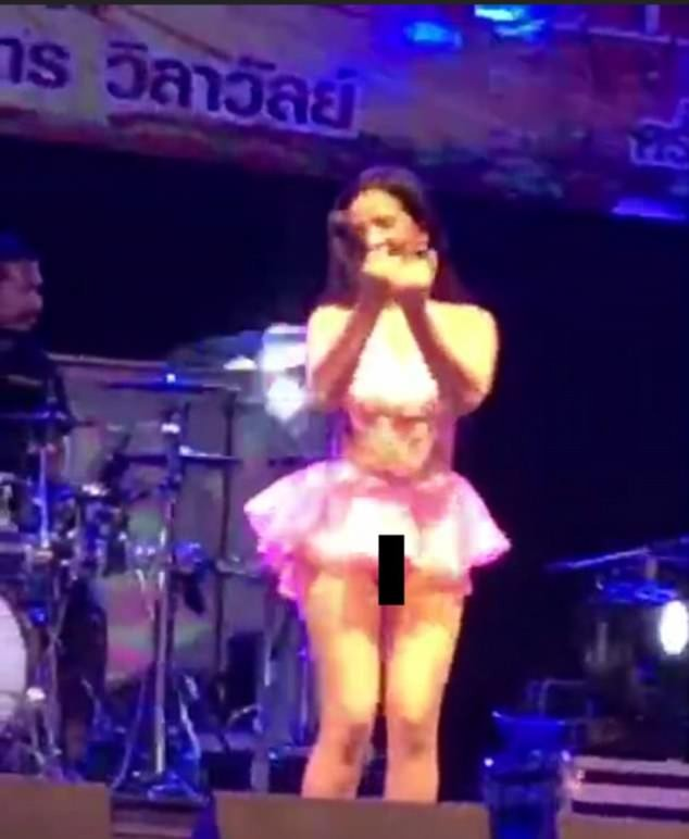 Pop singer suffers major wardrobe malfunction while performing on stage without